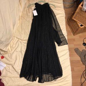 Stunning Mango Pleated Black Evening Dress!!!!